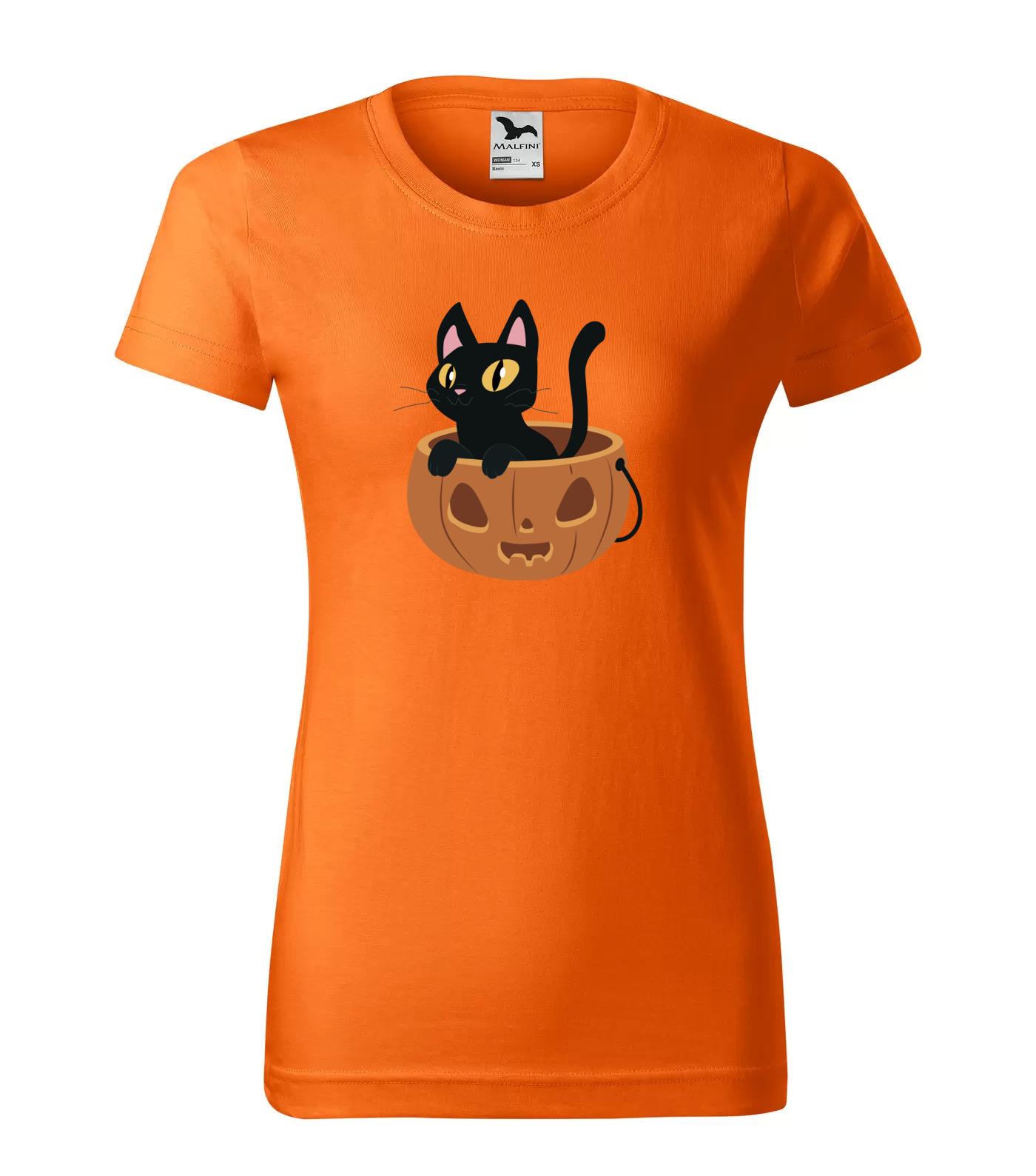 Tričko Halloween Kočka v dýni